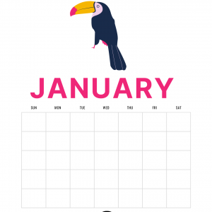 Preview Bird January Blank Printable Calendar Page