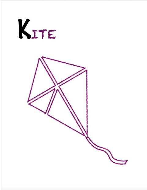 Learn the alphabet, K is for Kite