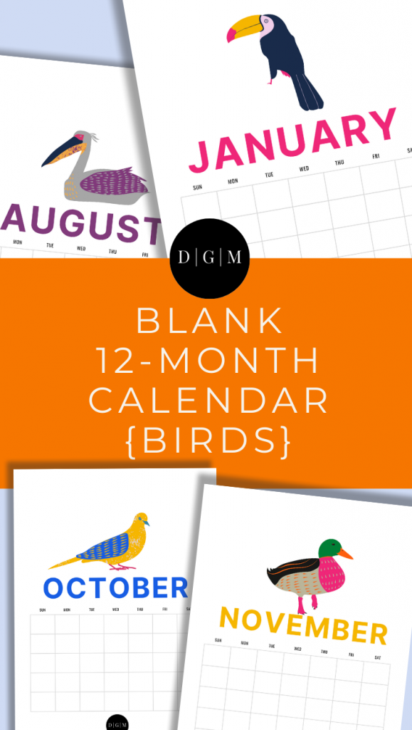 Bird Themed Printable Calendar Digital Download