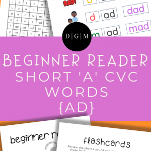 Learn to read, short A, CVC words, early learning, -AD ending