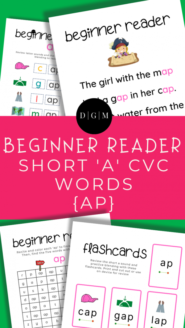 Learn to read, short A, CVC words, early learning, -AP ending