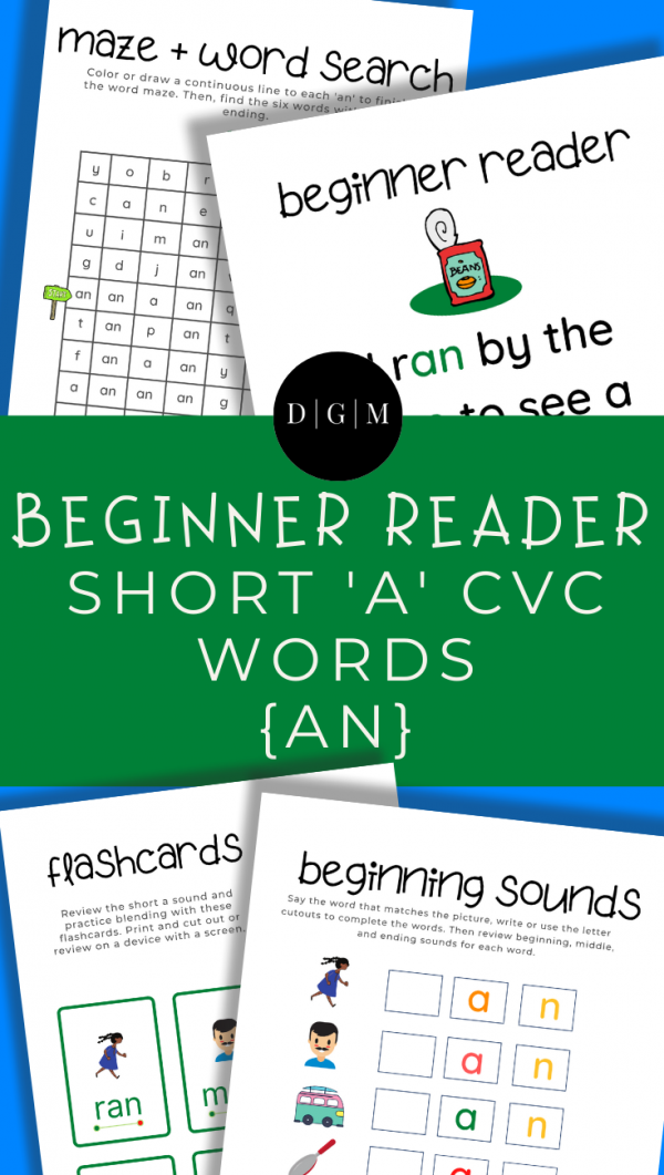 Learn to read, short A, CVC words, early learning, -AN ending