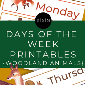Days of the Week Printables, Woodland Animal Theme