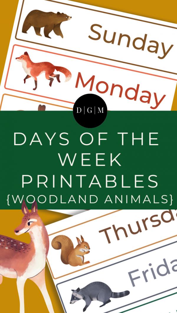Days of the Week Printables, Woodland Animal Theme