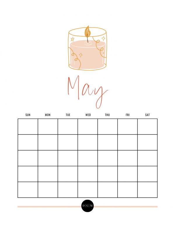 Preview Self Love Printable Calendar, May Calendar Download